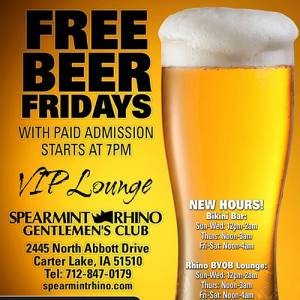Free Beer Friday @ The Rhino Oct 9